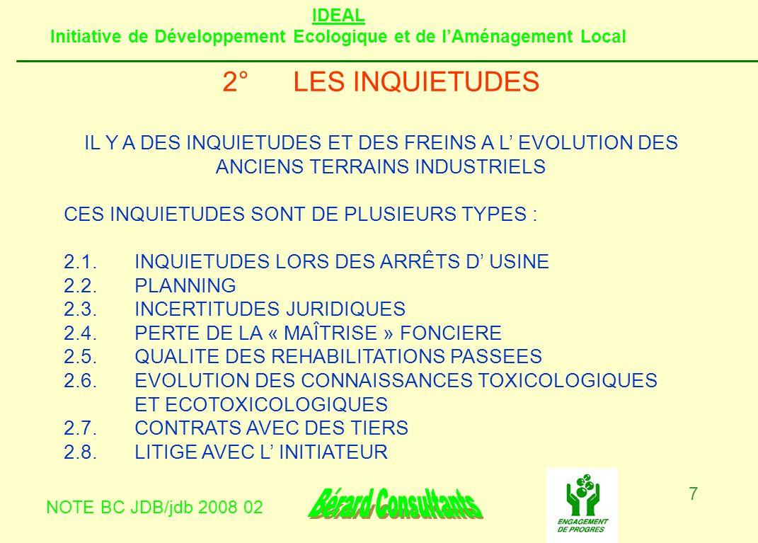 IDEAL Initiative de Développement Ecologique et de lAménagement Local NOTE BC JDB/jdb 2008 02 7 2°LES INQUIETUDES IL Y A DES INQUIETUDES ET DES FREINS