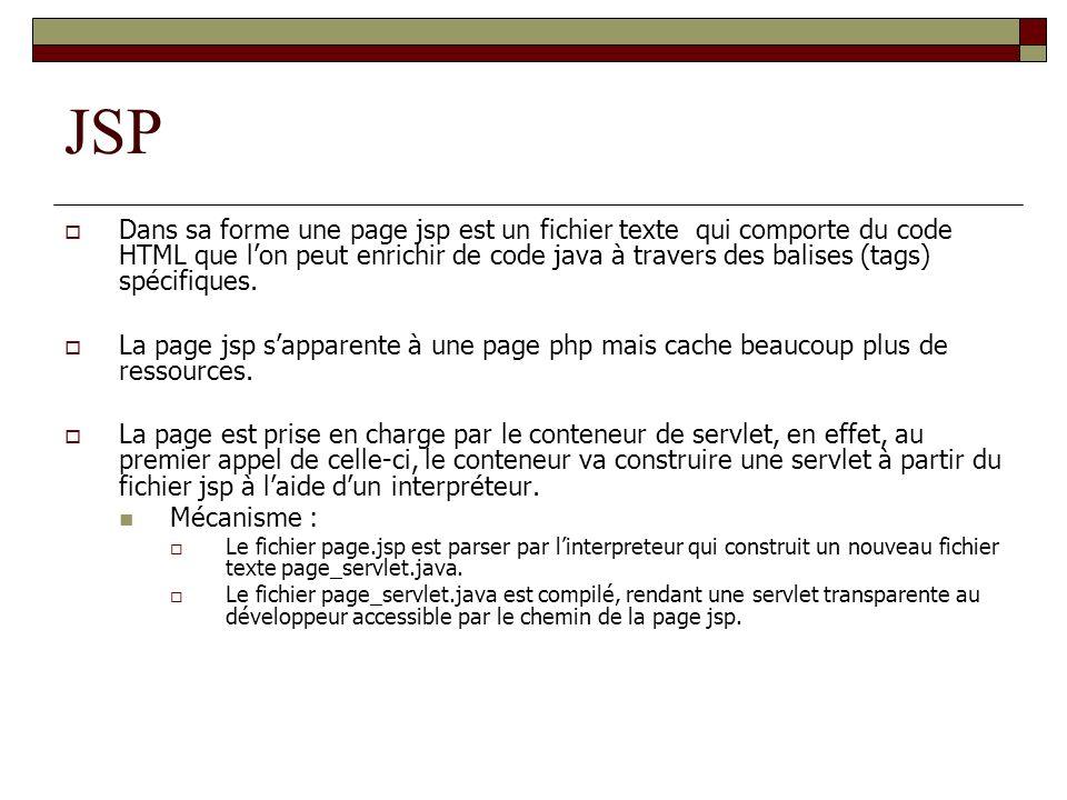 JSP Dans sa forme une page jsp est un fichier texte qui comporte du code HTML que lon peut enrichir de code java à travers des balises (tags) spécifiq