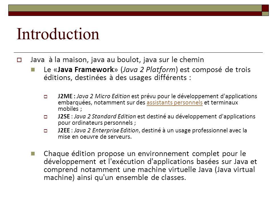Introduction Java à la maison, java au boulot, java sur le chemin Le «Java Framework» (Java 2 Platform) est composé de trois éditions, destinées à des