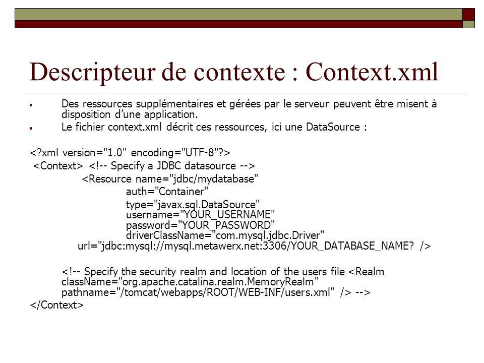Descripteur de contexte : Context.xml Des ressources supplémentaires et gérées par le serveur peuvent être misent à disposition dune application. Le f
