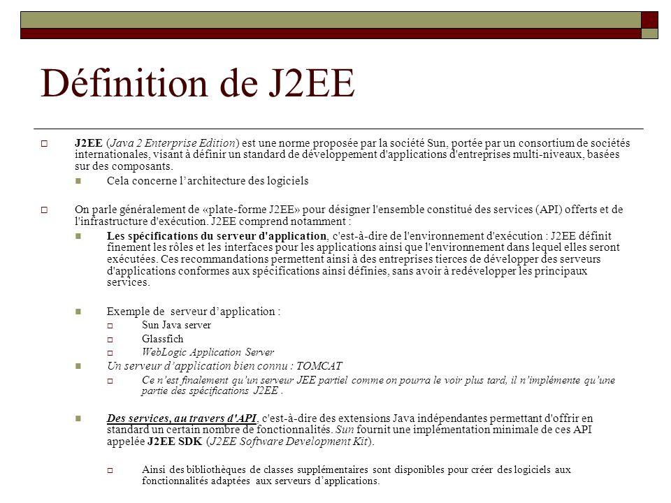 Définition de J2EE J2EE (Java 2 Enterprise Edition) est une norme proposée par la société Sun, portée par un consortium de sociétés internationales, v