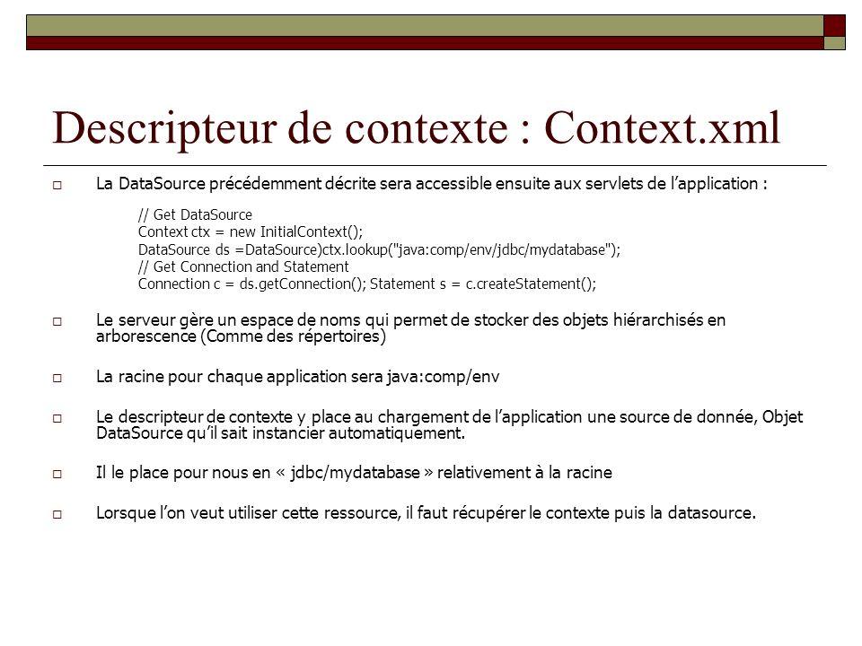 Descripteur de contexte : Context.xml La DataSource précédemment décrite sera accessible ensuite aux servlets de lapplication : // Get DataSource Cont