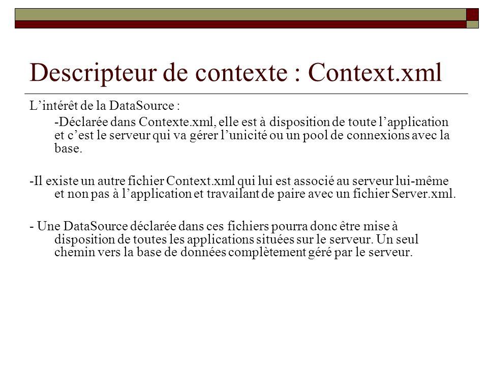 Descripteur de contexte : Context.xml Lintérêt de la DataSource : -Déclarée dans Contexte.xml, elle est à disposition de toute lapplication et cest le