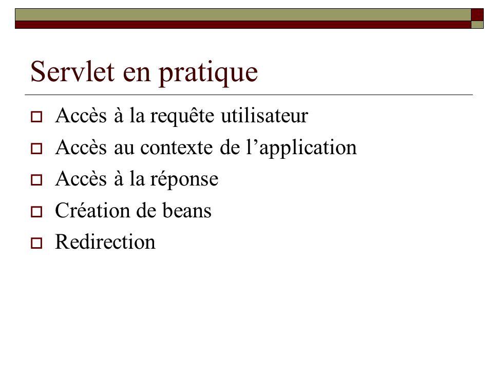 Servlet en pratique Accès à la requête utilisateur Accès au contexte de lapplication Accès à la réponse Création de beans Redirection