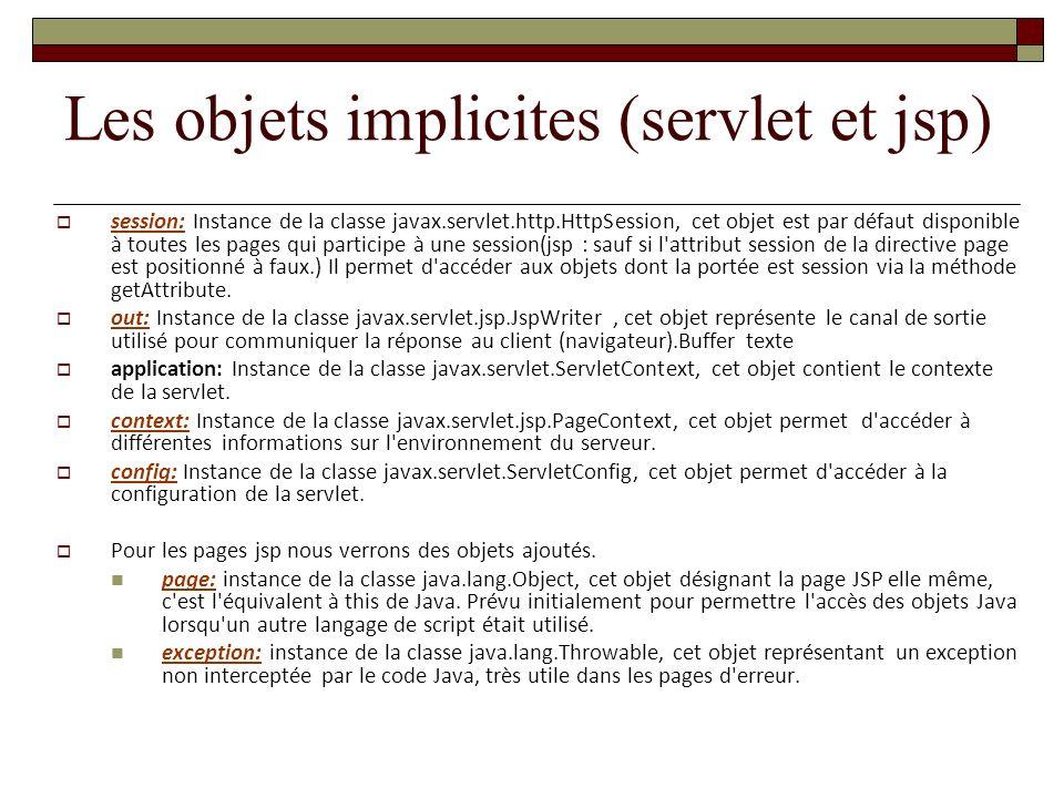 session: Instance de la classe javax.servlet.http.HttpSession, cet objet est par défaut disponible à toutes les pages qui participe à une session(jsp