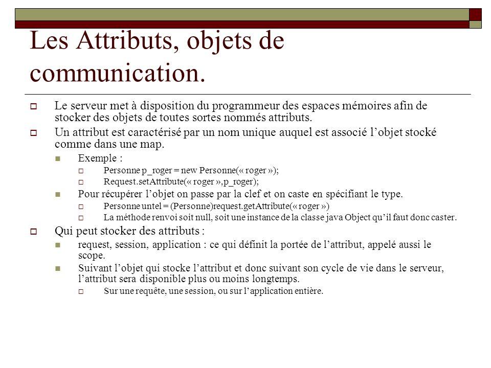 Les Attributs, objets de communication. Le serveur met à disposition du programmeur des espaces mémoires afin de stocker des objets de toutes sortes n