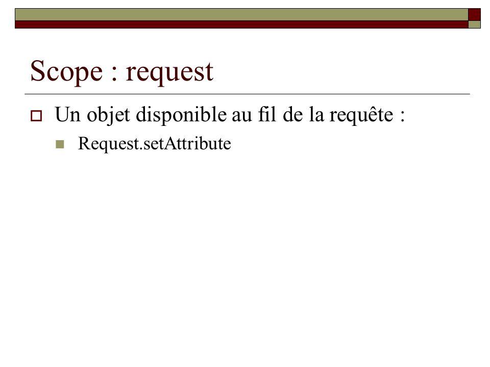 Scope : request Un objet disponible au fil de la requête : Request.setAttribute