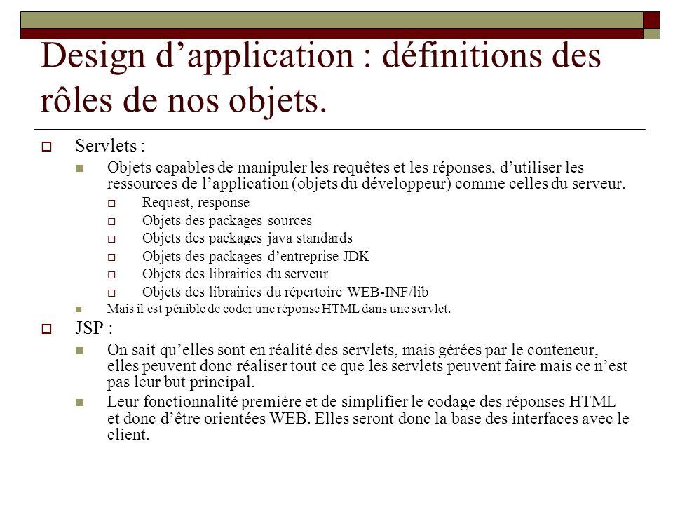 Design dapplication : définitions des rôles de nos objets. Servlets : Objets capables de manipuler les requêtes et les réponses, dutiliser les ressour