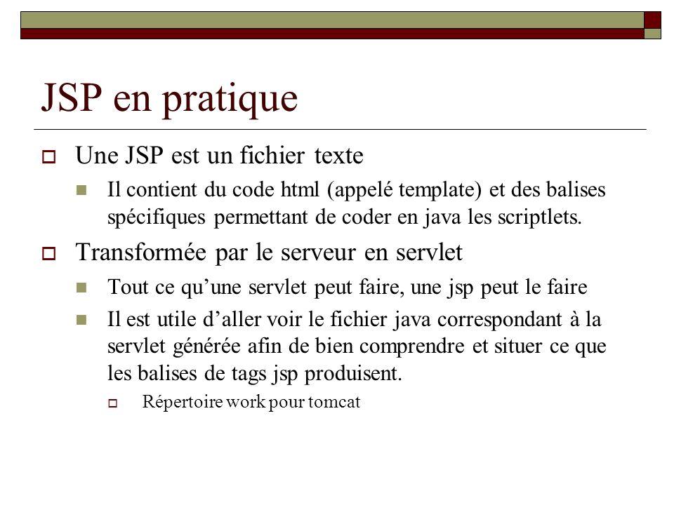 JSP en pratique Une JSP est un fichier texte Il contient du code html (appelé template) et des balises spécifiques permettant de coder en java les scr