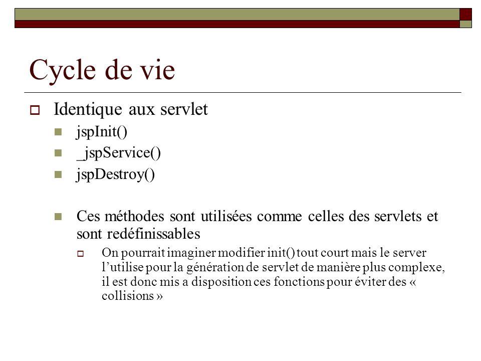 Cycle de vie Identique aux servlet jspInit() _jspService() jspDestroy() Ces méthodes sont utilisées comme celles des servlets et sont redéfinissables