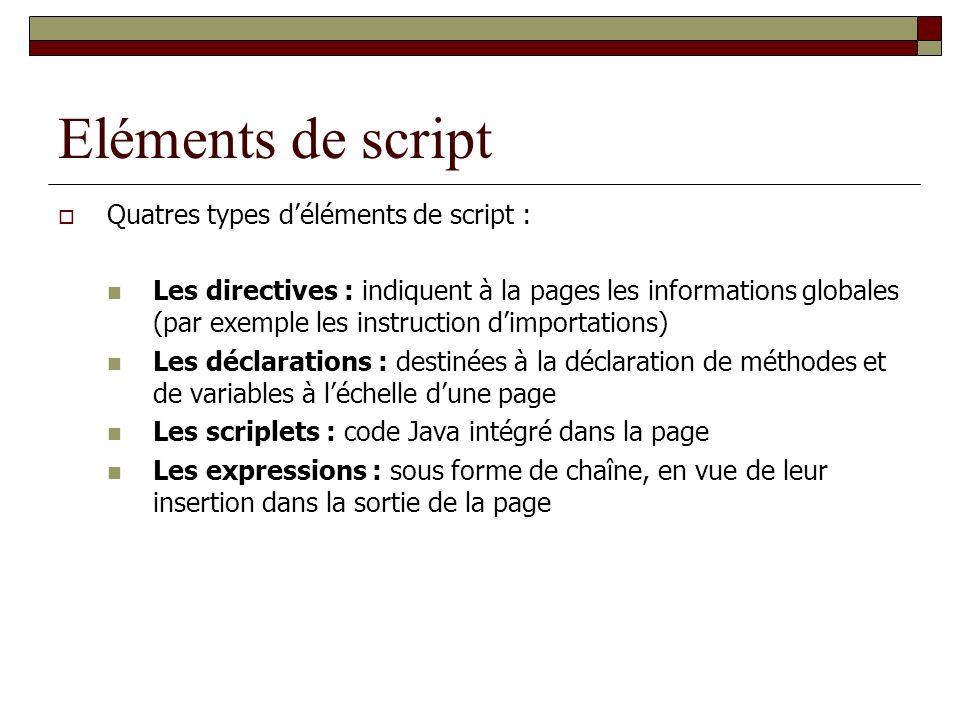 Eléments de script Quatres types déléments de script : Les directives : indiquent à la pages les informations globales (par exemple les instruction di