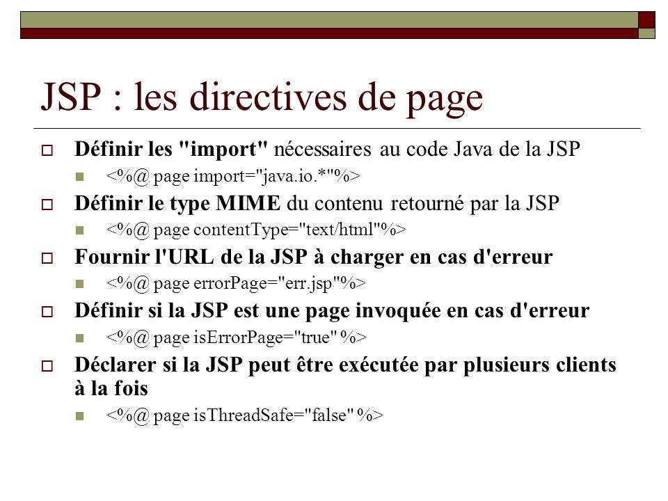 JSP : les directives de page Définir les