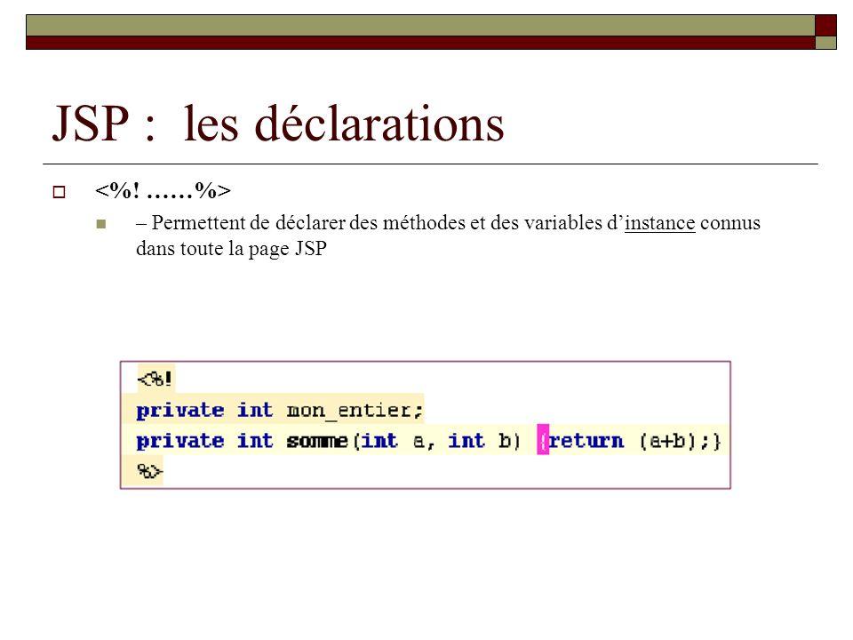 JSP : les déclarations – Permettent de déclarer des méthodes et des variables dinstance connus dans toute la page JSP
