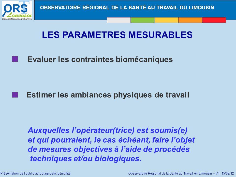 Présentation de loutil dautodiagnostic pénibilité Observatoire Régional de la Santé au Travail en Limousin – V F 15/02/12 LES PARAMETRES MESURABLES Ev