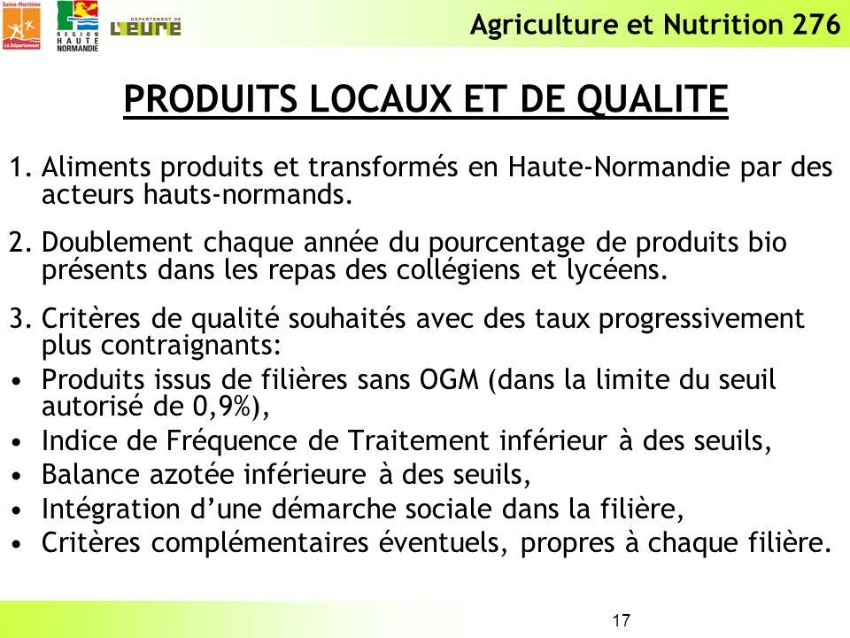 Agriculture et Nutrition 276 17 PRODUITS LOCAUX ET DE QUALITE 1.Aliments produits et transformés en Haute-Normandie par des acteurs hauts-normands. 2.