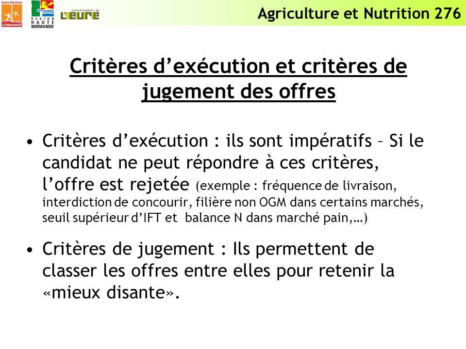Agriculture et Nutrition 276 Critères dexécution et critères de jugement des offres Critères dexécution : ils sont impératifs – Si le candidat ne peut