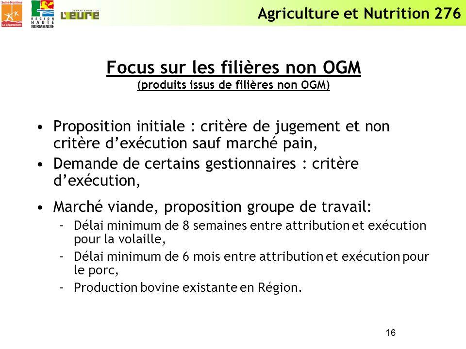 Agriculture et Nutrition 276 Focus sur les filières non OGM (produits issus de filières non OGM) Proposition initiale : critère de jugement et non cri