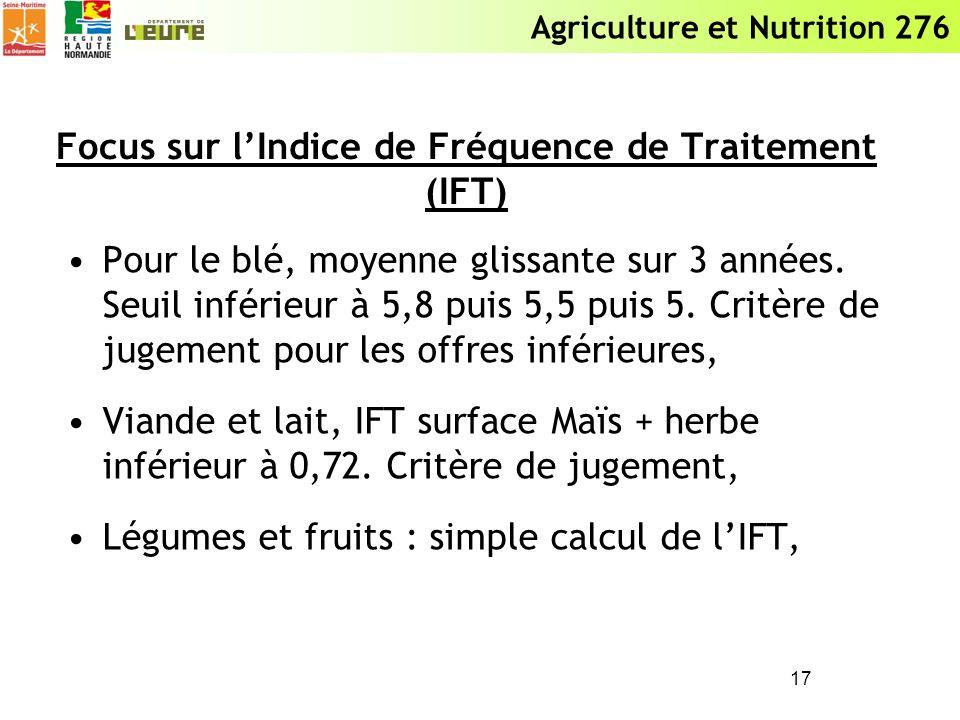 Agriculture et Nutrition 276 Focus sur lIndice de Fréquence de Traitement (IFT) Pour le blé, moyenne glissante sur 3 années. Seuil inférieur à 5,8 pui
