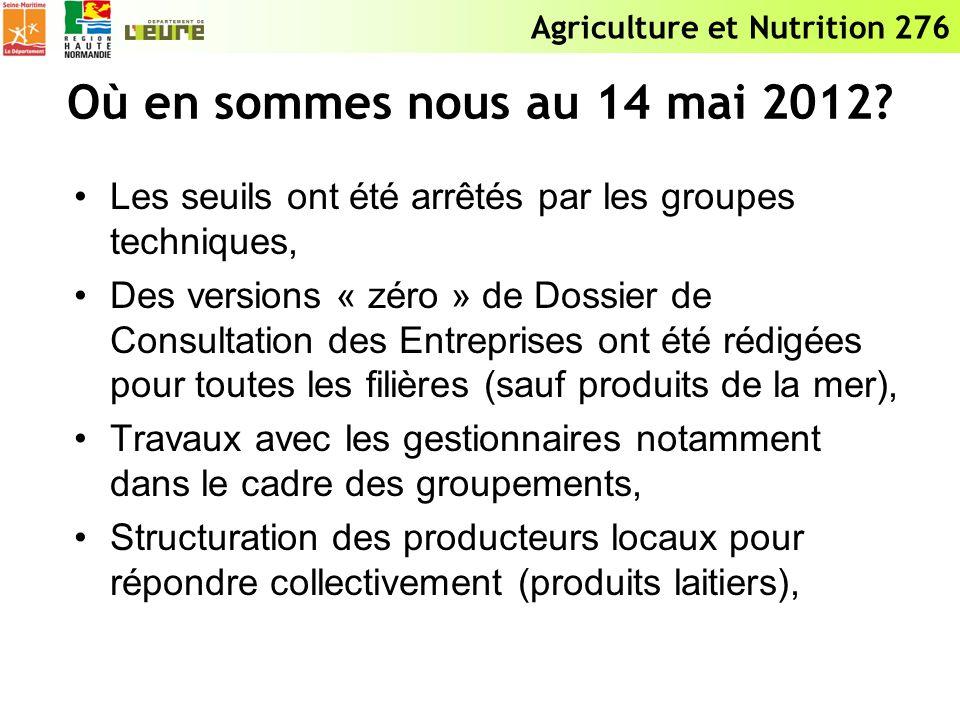 Agriculture et Nutrition 276 Où en sommes nous au 14 mai 2012? Les seuils ont été arrêtés par les groupes techniques, Des versions « zéro » de Dossier
