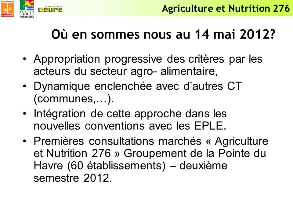 Agriculture et Nutrition 276 Où en sommes nous au 14 mai 2012? Appropriation progressive des critères par les acteurs du secteur agro- alimentaire, Dy