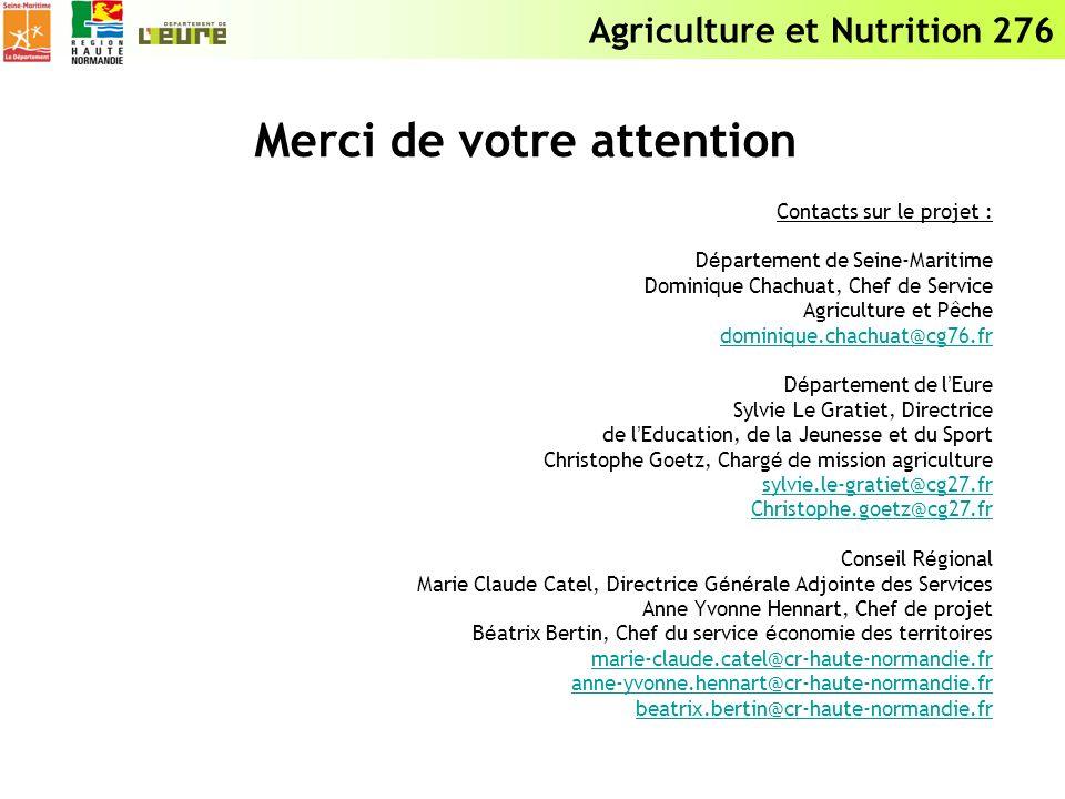 Agriculture et Nutrition 276 Merci de votre attention Contacts sur le projet : D é partement de Seine-Maritime Dominique Chachuat, Chef de Service Agr