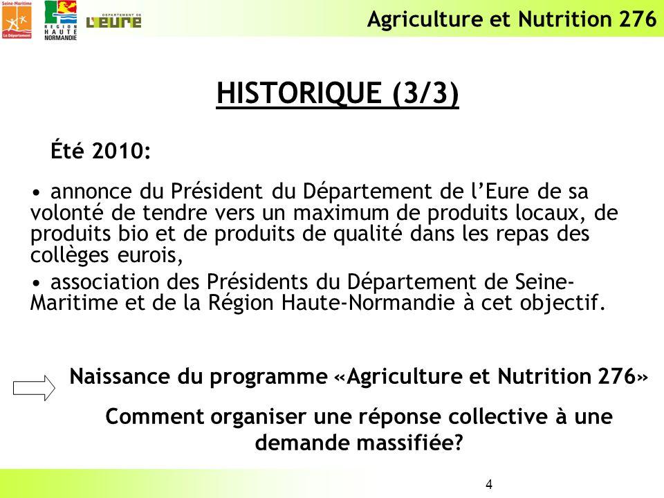 Agriculture et Nutrition 276 4 Été 2010: annonce du Président du Département de lEure de sa volonté de tendre vers un maximum de produits locaux, de p
