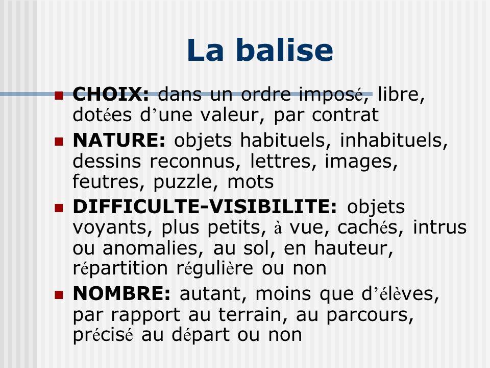La balise CHOIX: dans un ordre impos é, libre, dot é es d une valeur, par contrat NATURE: objets habituels, inhabituels, dessins reconnus, lettres, im