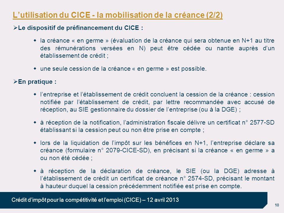 10 Crédit dimpôt pour la compétitivité et lemploi (CICE) – 12 avril 2013 Lutilisation du CICE - la mobilisation de la créance (2/2) Le dispositif de p