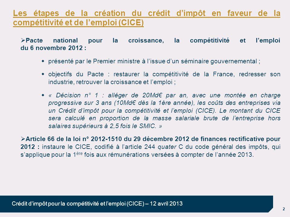 2 Crédit dimpôt pour la compétitivité et lemploi (CICE) – 12 avril 2013 Les étapes de la création du crédit dimpôt en faveur de la compétitivité et de