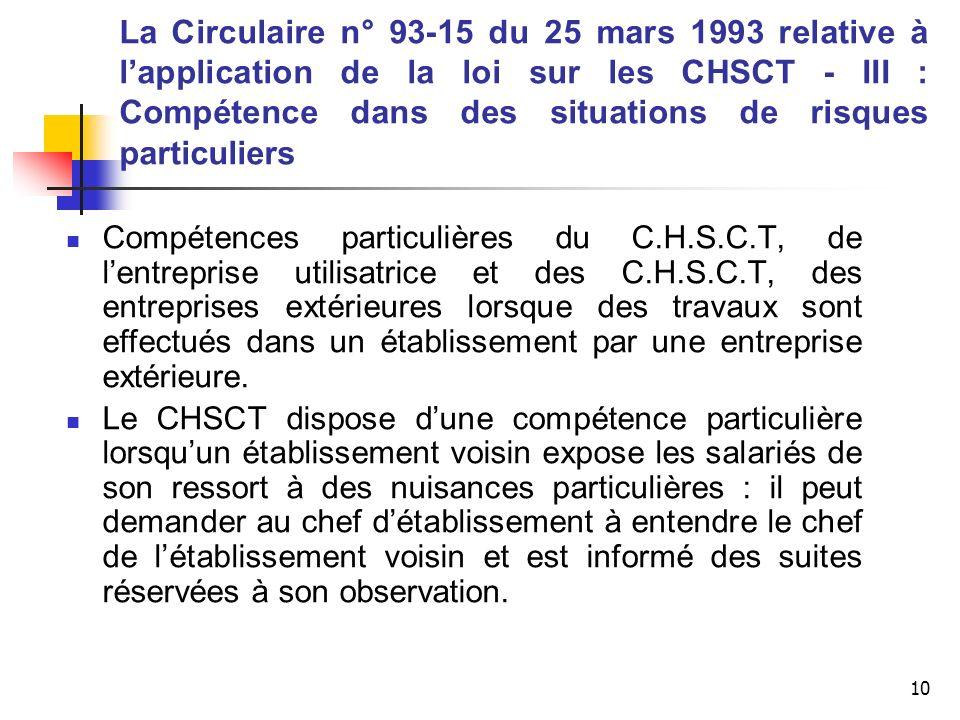 10 La Circulaire n° 93-15 du 25 mars 1993 relative à lapplication de la loi sur les CHSCT - III : Compétence dans des situations de risques particulie