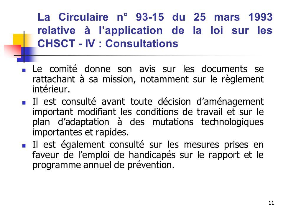 11 La Circulaire n° 93-15 du 25 mars 1993 relative à lapplication de la loi sur les CHSCT - IV : Consultations Le comité donne son avis sur les docume