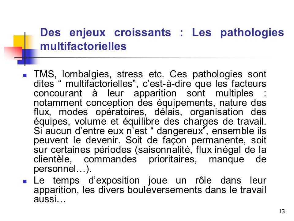13 Des enjeux croissants : Les pathologies multifactorielles TMS, lombalgies, stress etc. Ces pathologies sont dites multifactorielles, cest-à-dire qu