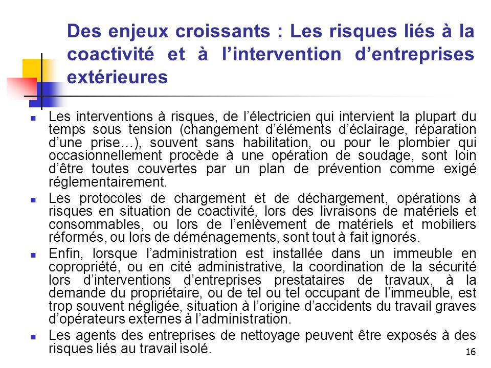 16 Des enjeux croissants : Les risques liés à la coactivité et à lintervention dentreprises extérieures Les interventions à risques, de lélectricien q