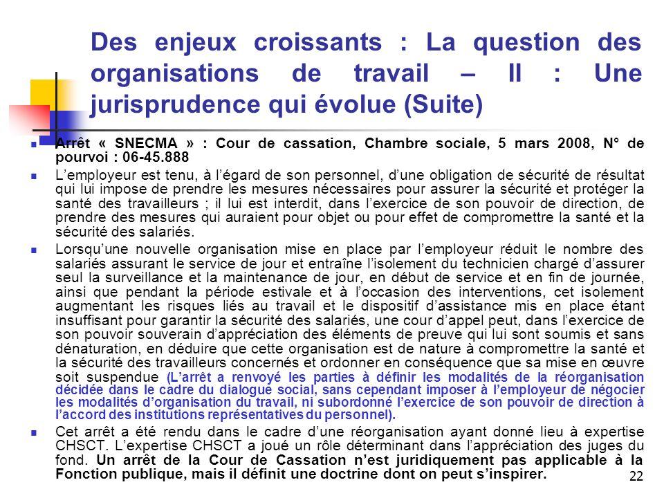 22 Des enjeux croissants : La question des organisations de travail – II : Une jurisprudence qui évolue (Suite) Arrêt « SNECMA » : Cour de cassation,