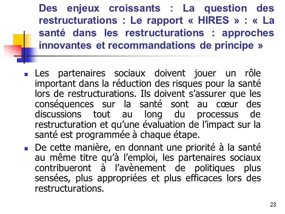 23 Des enjeux croissants : La question des restructurations : Le rapport « HIRES » : « La santé dans les restructurations : approches innovantes et re