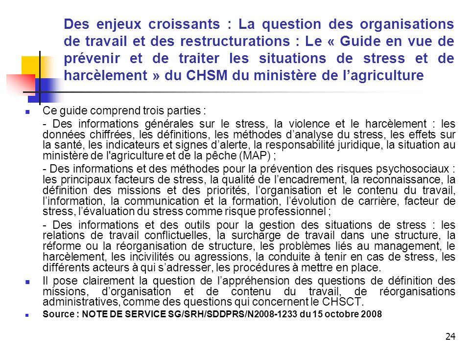 24 Des enjeux croissants : La question des organisations de travail et des restructurations : Le « Guide en vue de prévenir et de traiter les situatio