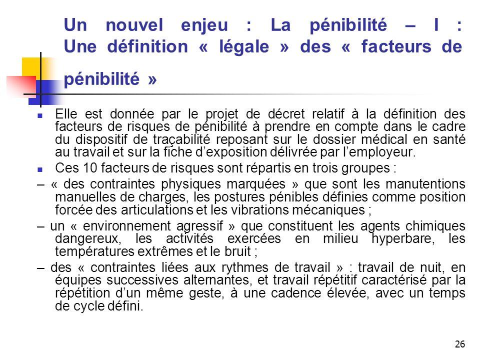 26 Un nouvel enjeu : La pénibilité – I : Une définition « légale » des « facteurs de pénibilité » Elle est donnée par le projet de décret relatif à la