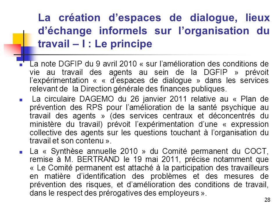28 La création despaces de dialogue, lieux déchange informels sur lorganisation du travail – I : Le principe La note DGFIP du 9 avril 2010 « sur lamél