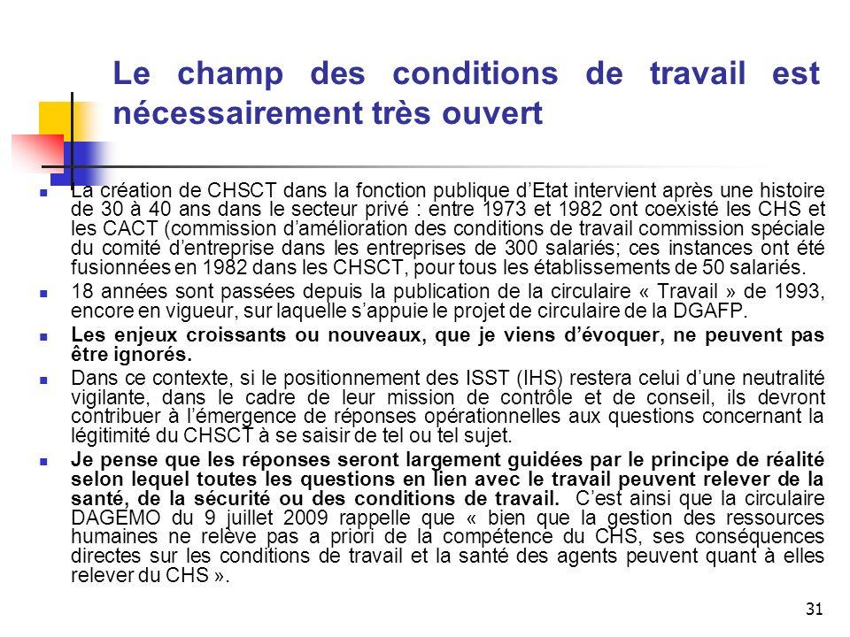 31 Le champ des conditions de travail est nécessairement très ouvert La création de CHSCT dans la fonction publique dEtat intervient après une histoir