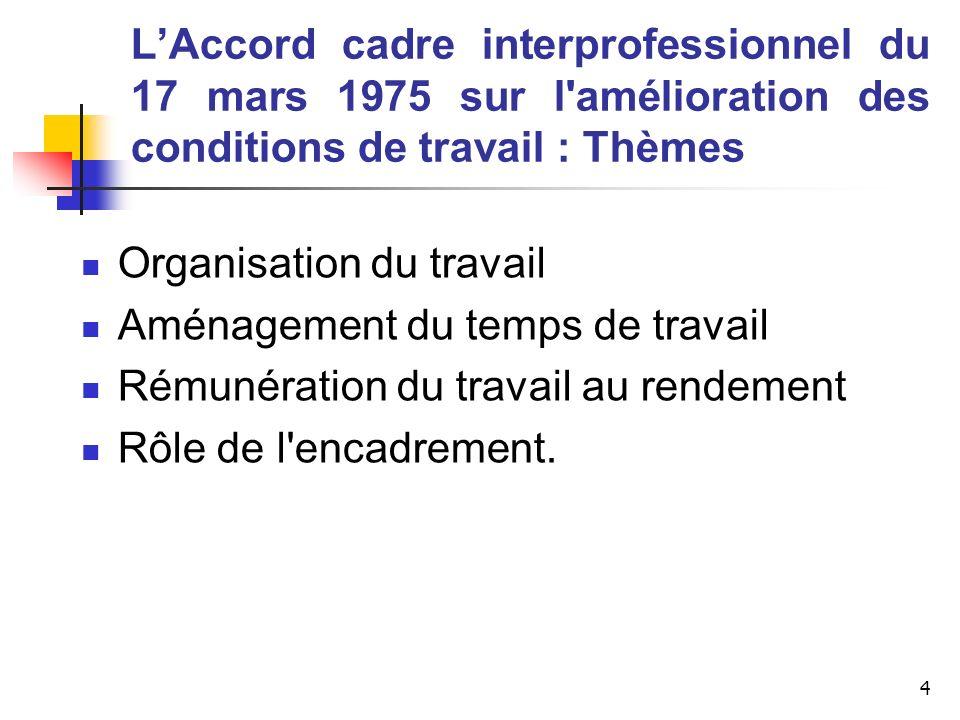 4 LAccord cadre interprofessionnel du 17 mars 1975 sur l'amélioration des conditions de travail : Thèmes Organisation du travail Aménagement du temps