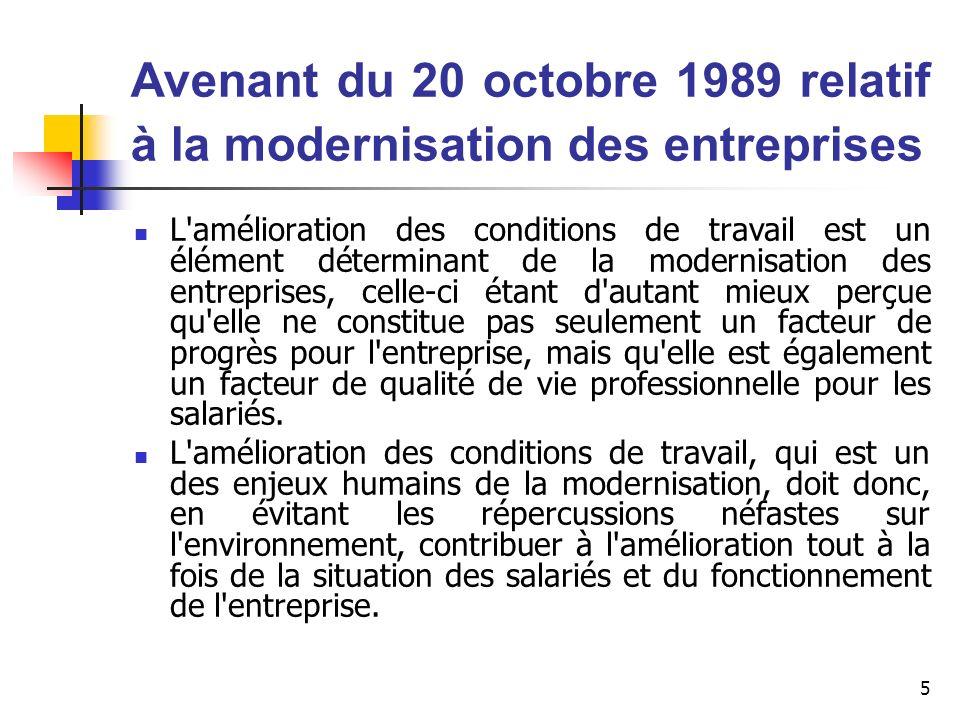 5 Avenant du 20 octobre 1989 relatif à la modernisation des entreprises L'amélioration des conditions de travail est un élément déterminant de la mode