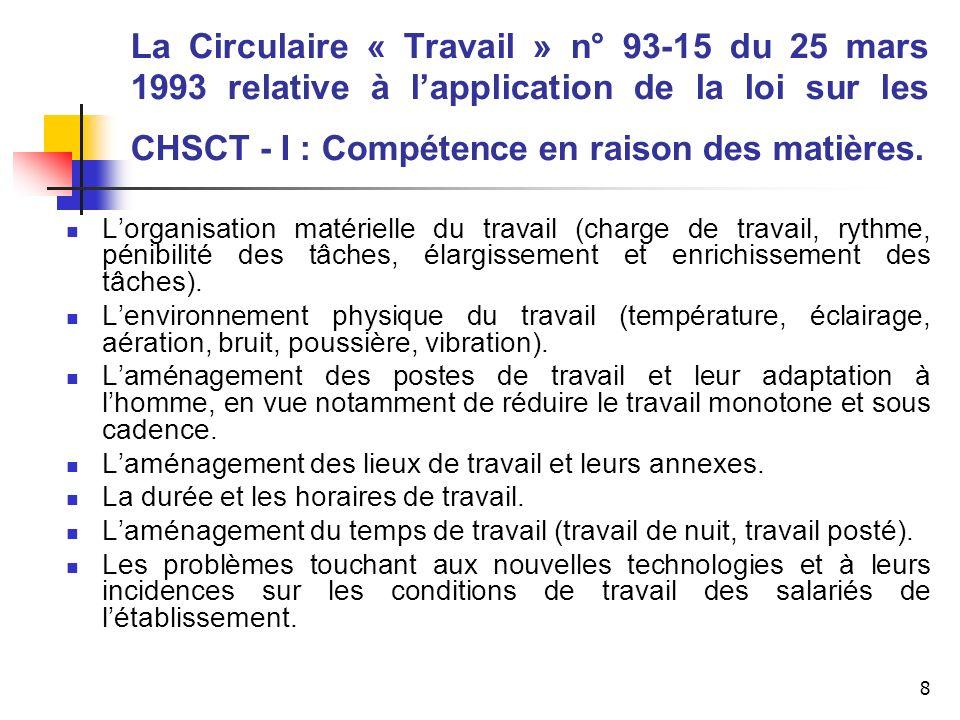 8 La Circulaire « Travail » n° 93-15 du 25 mars 1993 relative à lapplication de la loi sur les CHSCT - I : Compétence en raison des matières. Lorganis