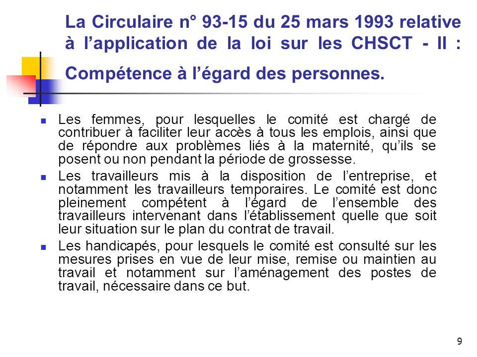 10 La Circulaire n° 93-15 du 25 mars 1993 relative à lapplication de la loi sur les CHSCT - III : Compétence dans des situations de risques particuliers Compétences particulières du C.H.S.C.T, de lentreprise utilisatrice et des C.H.S.C.T, des entreprises extérieures lorsque des travaux sont effectués dans un établissement par une entreprise extérieure.