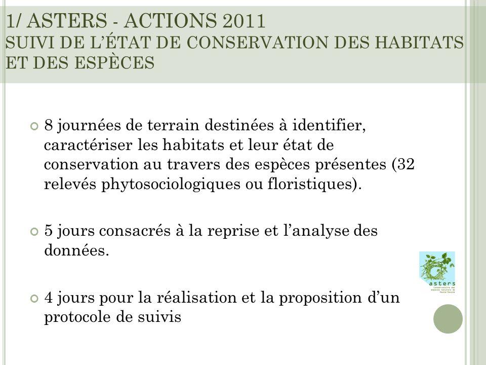 1/ ASTERS - ACTIONS 2011 SUIVI DE LÉTAT DE CONSERVATION DES HABITATS ET DES ESPÈCES 8 journées de terrain destinées à identifier, caractériser les habitats et leur état de conservation au travers des espèces présentes (32 relevés phytosociologiques ou floristiques).