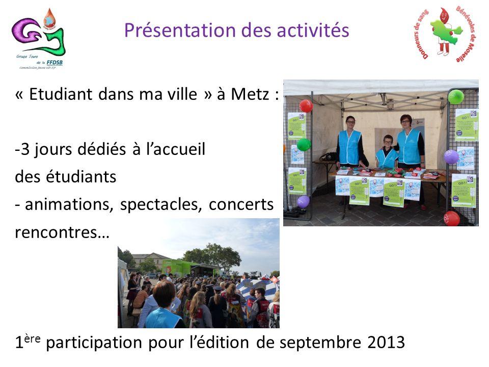 « Etudiant dans ma ville » à Metz : -3 jours dédiés à laccueil des étudiants - animations, spectacles, concerts rencontres… 1 ère participation pour lédition de septembre 2013 Présentation des activités