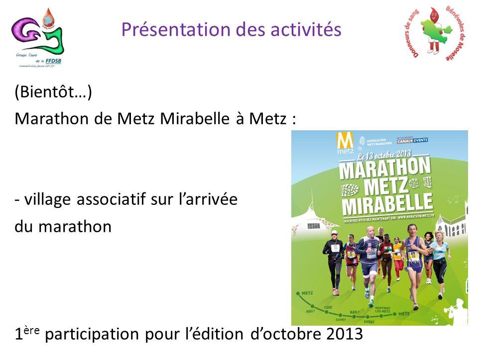 (Bientôt…) Marathon de Metz Mirabelle à Metz : - village associatif sur larrivée du marathon 1 ère participation pour lédition doctobre 2013 Présentation des activités
