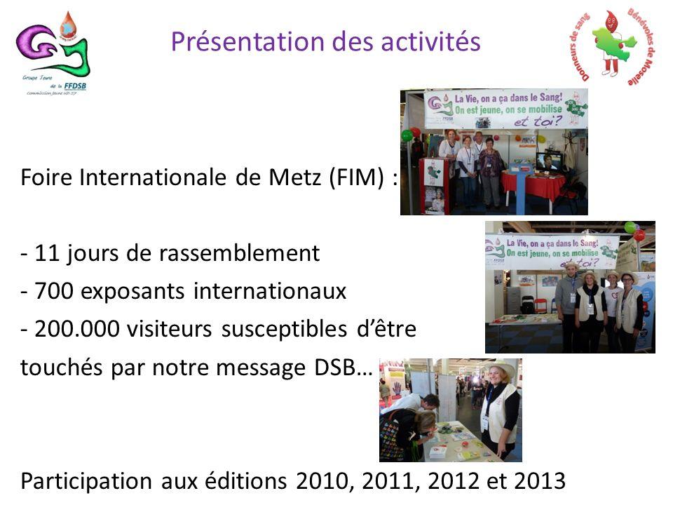 Foire Internationale de Metz (FIM) : - 11 jours de rassemblement - 700 exposants internationaux - 200.000 visiteurs susceptibles dêtre touchés par notre message DSB… Participation aux éditions 2010, 2011, 2012 et 2013 Présentation des activités