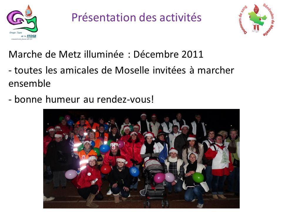 Marche de Metz illuminée : Décembre 2011 - toutes les amicales de Moselle invitées à marcher ensemble - bonne humeur au rendez-vous.