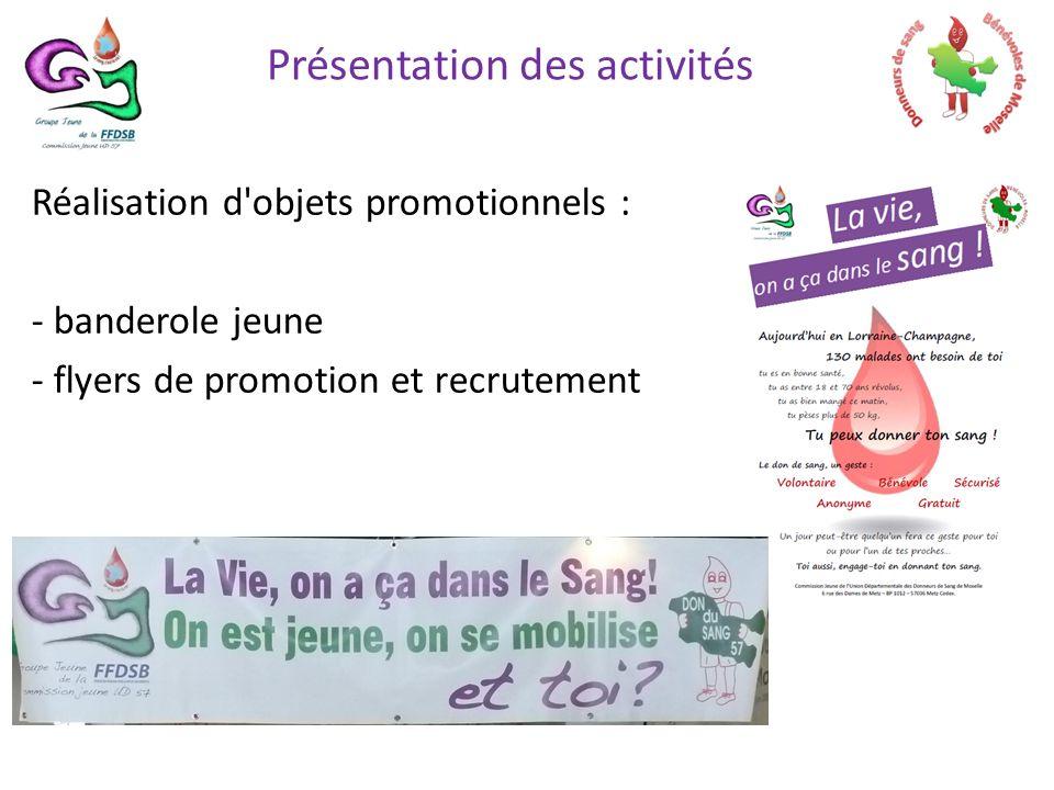 Réalisation d objets promotionnels : - banderole jeune - flyers de promotion et recrutement Présentation des activités