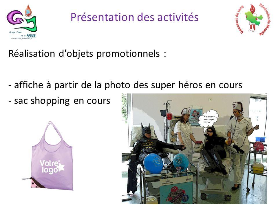 Réalisation d objets promotionnels : - affiche à partir de la photo des super héros en cours - sac shopping en cours Présentation des activités